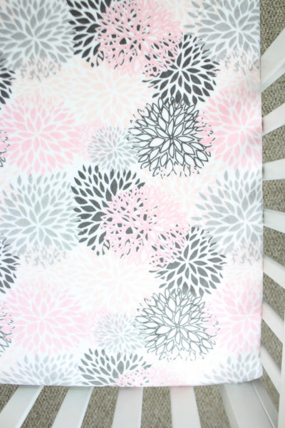 Flower Bursts Minky Crib Sheet or Changing Pad Cover