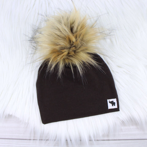 Chocolate Brown Pom Beanie