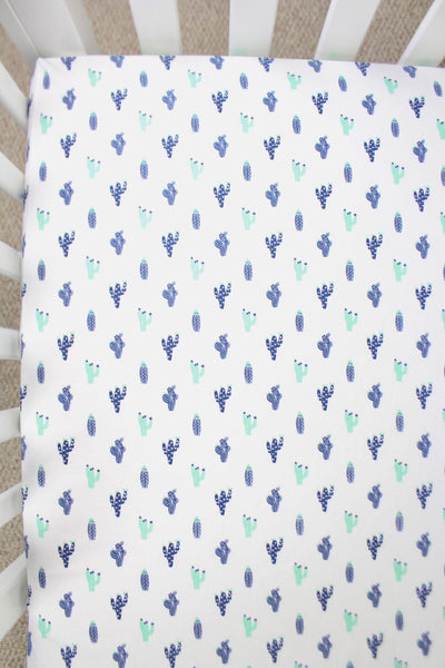 Navy Cactus Crib Sheet or Changing Pad Cover