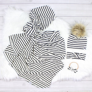 Black Stripes Swaddle Set