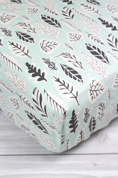 Mint Leaves Crib Sheet or Changing Pad Cover