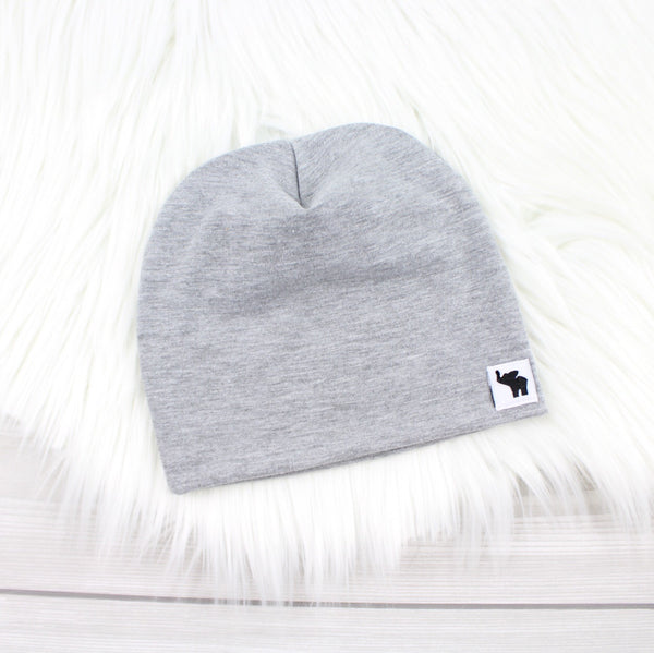 Light Gray Pom Beanie