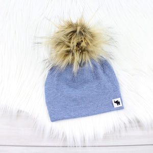 Light Denim Pom Beanie