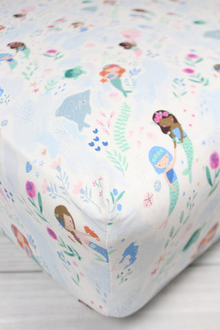 Mermaids and Narwals Crib Sheet or Changing Pad Cover