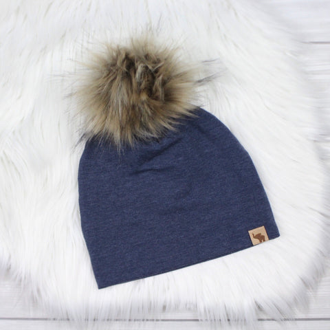 Dark Denim Pom Beanie