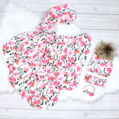 Pink Watercolor Peonies Swaddle Set