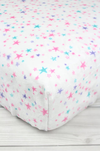 Pink Stars Minky Crib Sheet or Changing Pad Cover