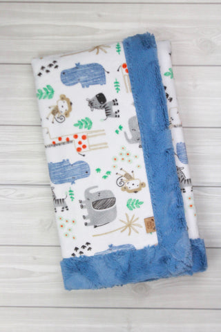 Safari Animals/Bluebell Infant Minky Blanket
