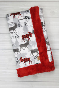 Plaid Moose/Cardinal Infant Minky Blanket