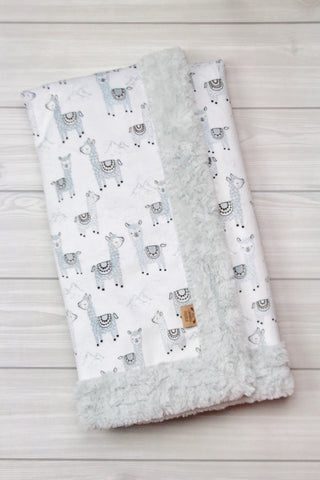 Llamas/Cloud Infant Minky Blanket