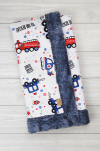 Emergency Vehicles/Chambray Infant Minky Blanket