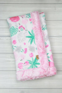 Flamingoes/Cotton Candy Infant Minky Blanket
