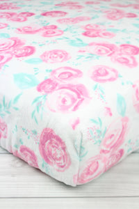 Roses Minky Crib Sheet or Changing Pad Cover