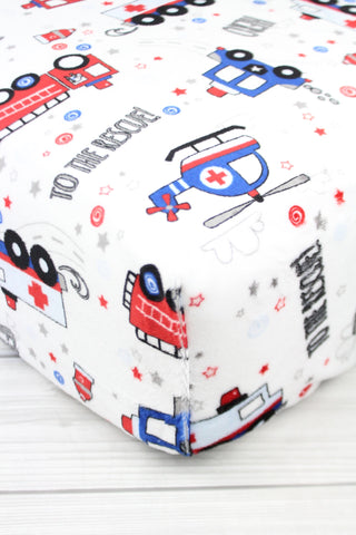 Emergency Vehicles Minky Crib Sheet or Changing Pad Cover