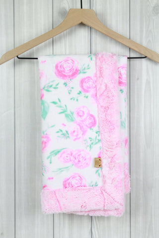 Roses/Cotton Candy Infant Minky Blanket