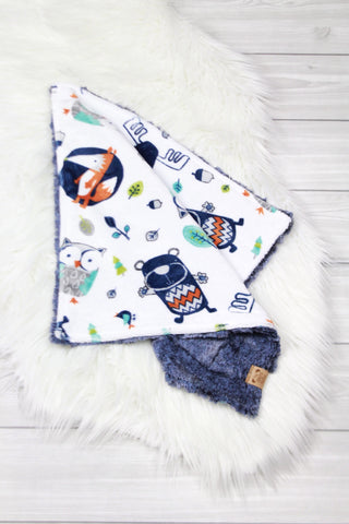 Woodland Animals/Chambray Lovey