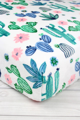 Floral Cactus Minky Crib Sheet or Changing Pad Cover