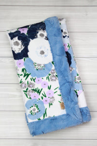 Bluebell Poppies/Bluebell Infant Minky Blanket