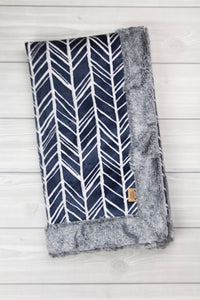 Navy Herringbone/Fog Infant Minky Blanket