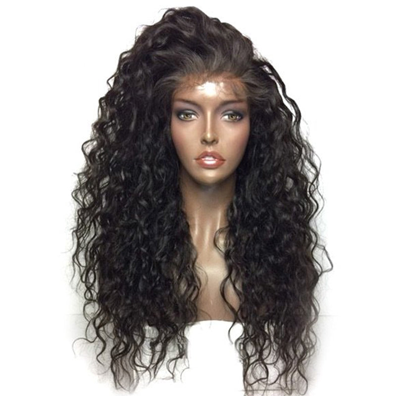 ... Venice Wig  Realistic Black Long Loose Curly Synthetic Lace Front Wig  With Baby Hairs ... 0a68d703a7a9