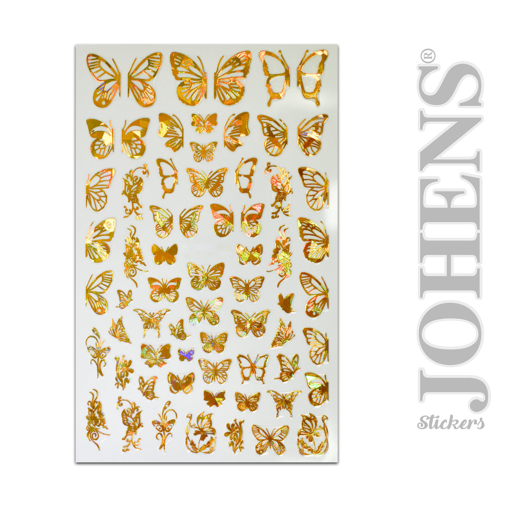 Holographic Gold Butterfly stickers #02