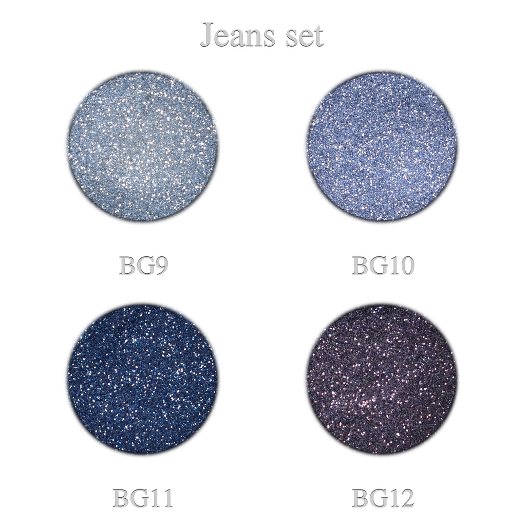 Blue glitter Jeans set 4pcs.