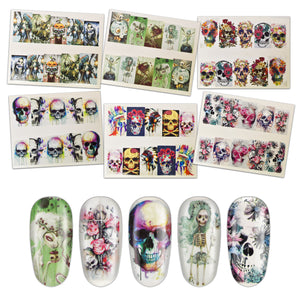 Skull Art stickers 01. (water decals)