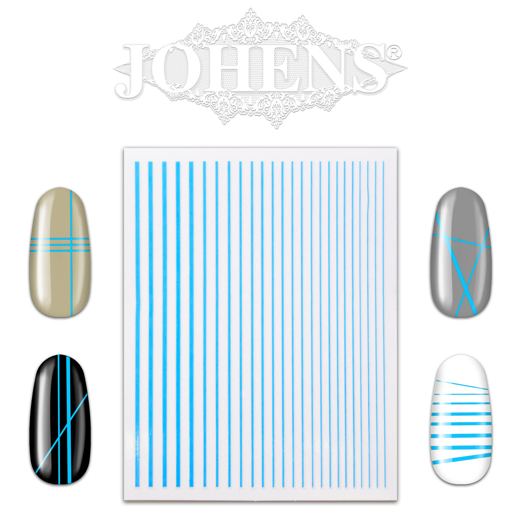 Nail Art Strip Sticker Sheet - Neon Blue