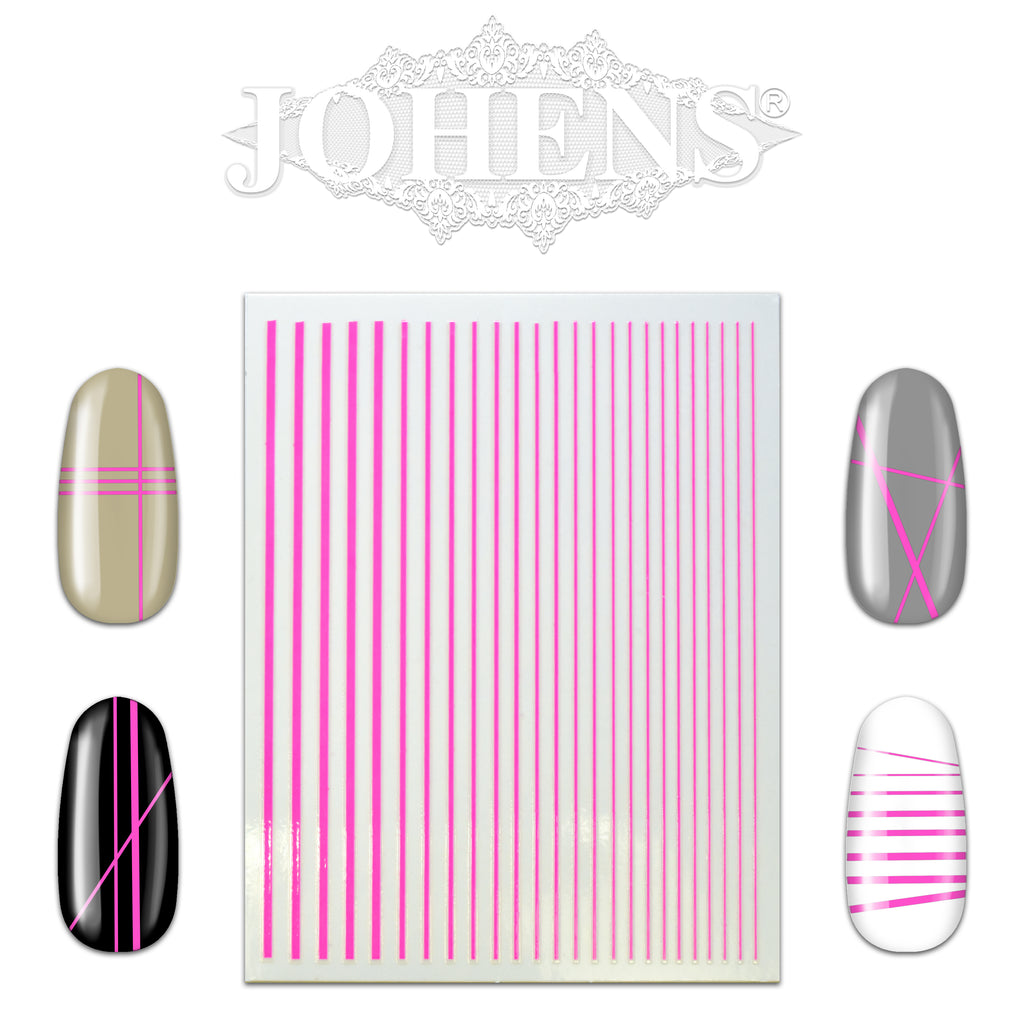 Nail Art Strip Sticker Sheet - Neon Pink