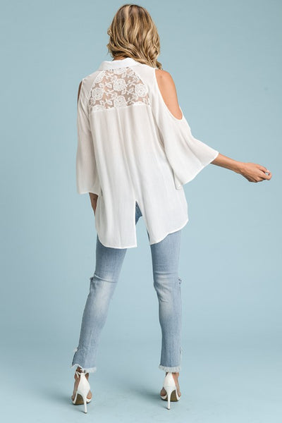 Bell Sleeve Button Down Blouse