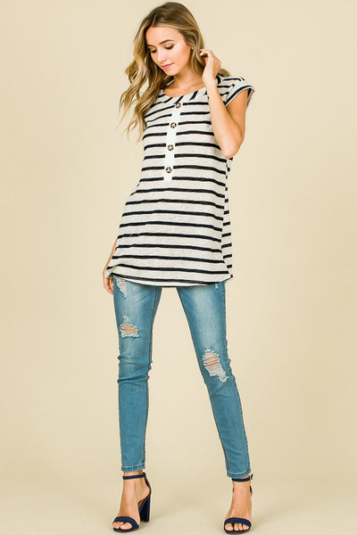 Stripes and Buttons Tee