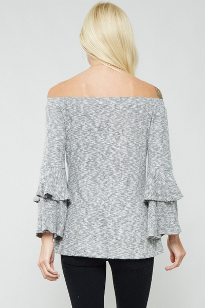 Ruffled Sleeve Off Shoulder