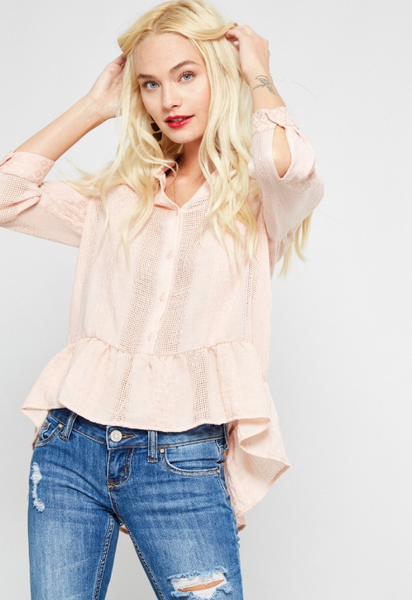 Ruffled High Low Blouse