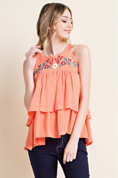 Embroidered Ruffle Tank