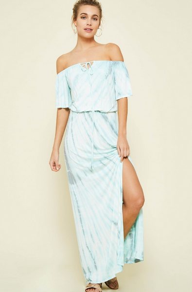 Off Shoulder Tie Dye Maxi