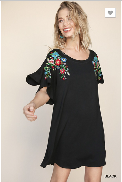 Embroidered Sleeve Swing Dress
