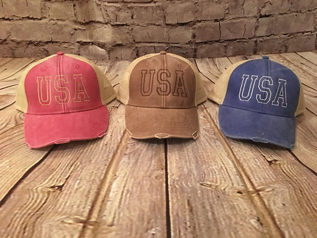 fde5ad4baf1 USA Hat, trucker hat, american hat, usa trucker hat, distressed hat, ...