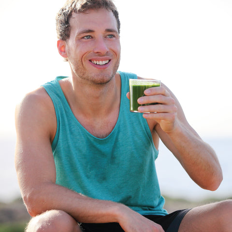 Mountain runner recovering with SP2 spirulina smoothie