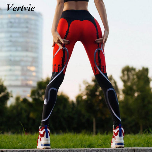 Sexy Heart Pattern Sport Leggings Women Printed Patchwork Yoga Pants