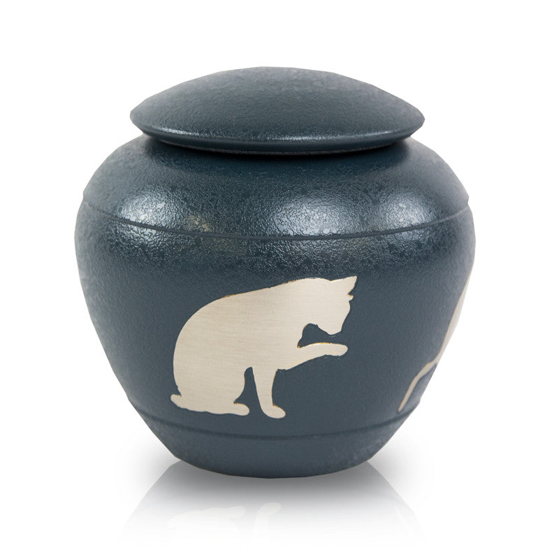 Silhouette Cat Cremation Urn - Country Blue