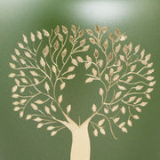 Large Aria Tree of Life Memorial Urn in Bronze and Green with Hand-Engraved Tree Accent