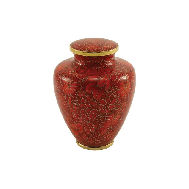 Auburn Leaves Cremation Urn Extra Small - Cloisonne