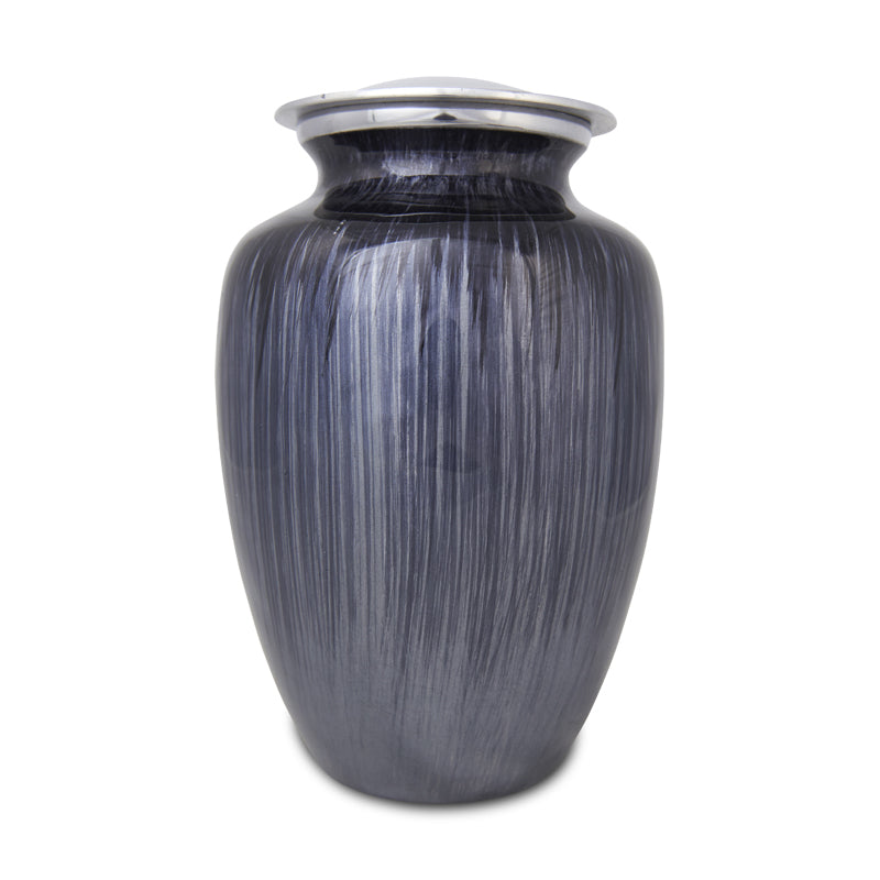Extra Large Enamel Finished Metal Alloy Cremation Urn - Dark Blue