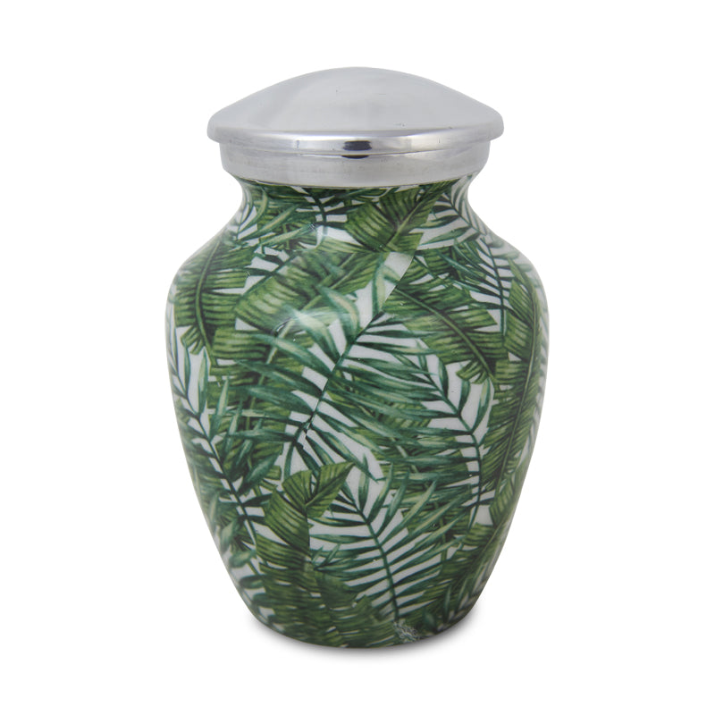 Small Enamel Finished Metal Alloy Cremation Urn - Bamboo Leaves