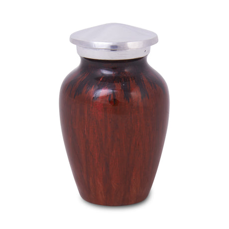 Enamel Finished Metal Alloy Cremation Keepsake Urn - Red and Black