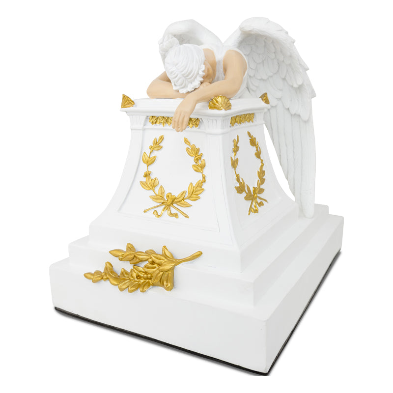 Gold Accents Weeping Angel Cremation Urn - Large