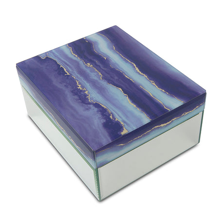 Modern Twilight Clouds Glass Cremation Urn Box - Medium