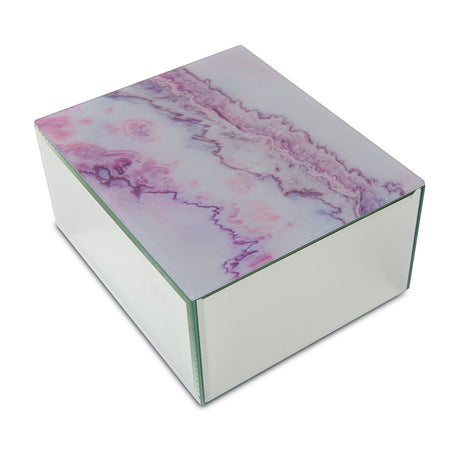 Modern Pink Marbled Glass Cremation Urn Box - Medium