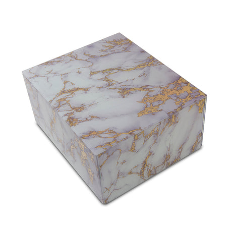 Modern Gold and White Marbled Glass Cremation Urn Box - Medium