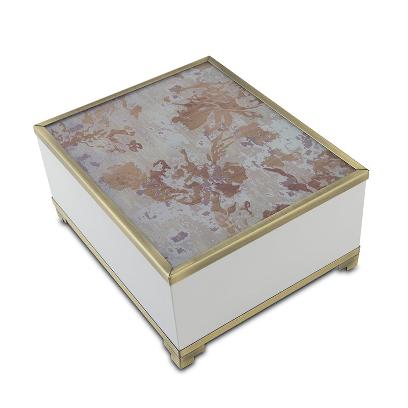 Autumn Leaves Modern Glass Cremation Urn Box - Medium